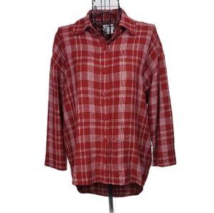 RVCA Cut Out Back Plaid Button Down Shirt